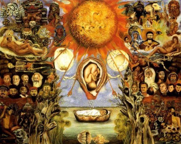 """En 1945, Frida pintó este cuadro por encargo de Don José Domingo Lavin que le pidió una obra sobre el libro de Sigmund Freud """"Moisés, el hombre y la religión monoteistita"""".  La figura central es el bebé abandonado, Moisés, y lleva el tercer ojo de la sabiduría en su frente."""